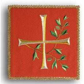 Palka haftowana czerwona - Krzyż + gałązka