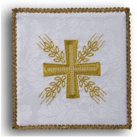 Palka haftowana biała - Krzyż i kłosy