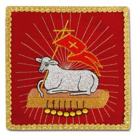 Palka haftowana czerwona - Baranek Ofiarny