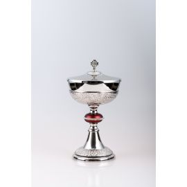 Puszka na komunikanty, mosiężna , niklowany, srebrzona - 27 cm (45)