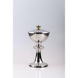 Puszka na komunikanty, mosiężna , niklowany, srebrzona - 23 cm (16)