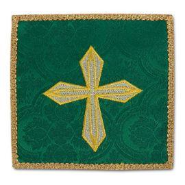 Palka haftowana zielona - złoty krzyż (1)