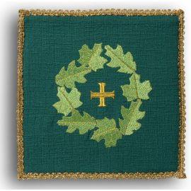 Palka haftowana zielona - Krzyż + liście