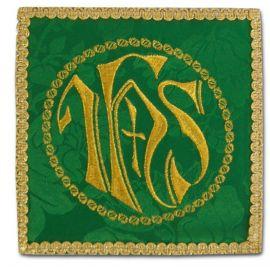 Palka haftowana zielona - IHS w kole + krzyż