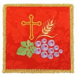 Palka haftowana czerwona - Krzyż, winogrono, kłosy