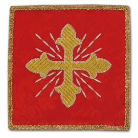 Palka haftowana czerwona - złoty krzyż + promienie