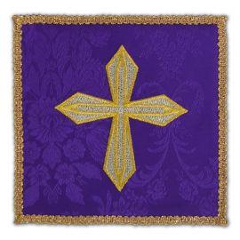 Palka haftowana fioletowa - złoty krzyż (1)