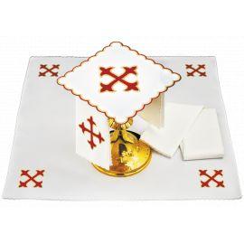 Bielizna kielichowa czerwony krzyż - haft
