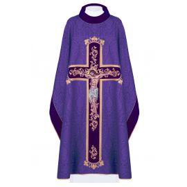 Ornat haftowany Jezus na krzyżu - fiolet (190)