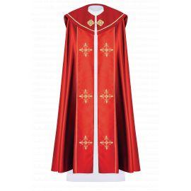 Kapa liturgiczna haftowana Krzyż - czerwona (39)