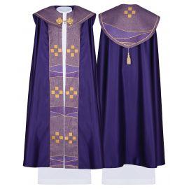 Kapa liturgiczna satynowa krzyż - fiolet (42)