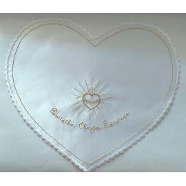 Szatka do chrztu Serce - kolor biało/złoty