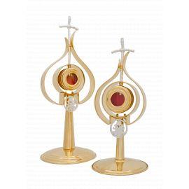 Relikwiarz mosiężny, pozłacany, papieski - 37 cm
