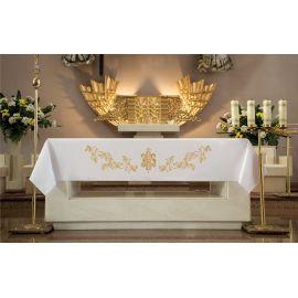 Obrus ołtarzowy - haftowany złoty symbol IHS