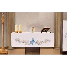 Obrus ołtarzowy - haftowany symbol Maryjny + Lilie